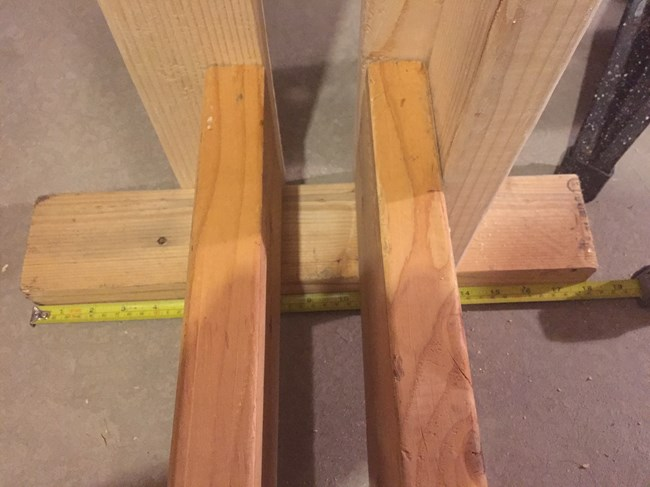 "Base for back of rack cut to a length of 18"" inches."